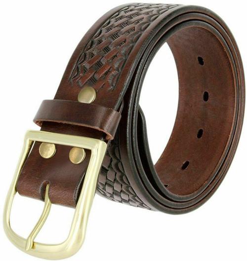 """Uniform Work Belt Basketweave One Piece Full Grain Cowhide Leather Belt 1-3/4""""(45mm) Wide"""