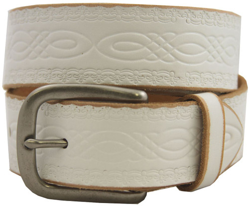 "Antique Buckle Genuine Full Grain Engraved Embossed Leather Belt 1-1/2""(38mm) Wide"