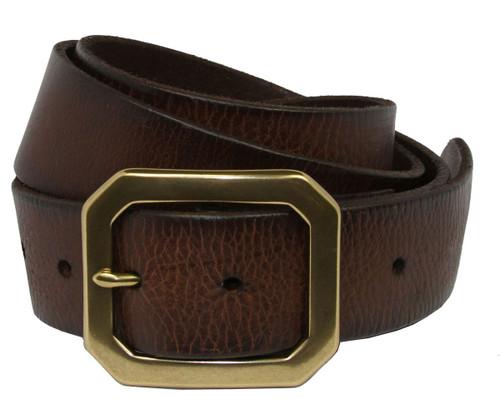 "Seattle Antique Buckle Genuine Full Grain Leather Casual Jean Belt 1-1/2""(38mm) Wide"
