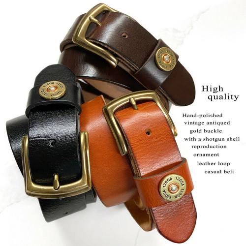 "Shotgun Shell Concho Loop Genuine Full Grain Leather Casual Jean Belt 1-1/2""(38mm) Wide"