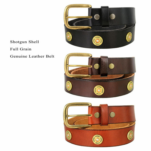 "12 Gauge Shotgun Shell Conchos Genuine Full Grain Leather Casual Jean Belt 1-1/2""(38mm) Wide"