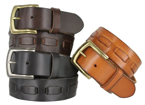 """Overlapped Genuine Full Grain Leather Casual Jean Belt with  1-1/2""""(38mm) Wide"""