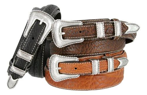 Silver Engraved Rope Edge Buckle Bison Leather Western Ranger Belt