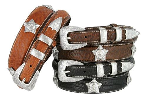 Western Silver Engraved Horsehead Star Conchos Belt Genuine Leather Bison Ranger Belt