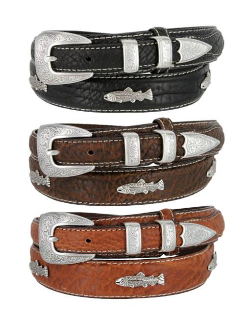 Western Silver Engraved Fish Conchos Belt Genuine Leather Bison Ranger Belt
