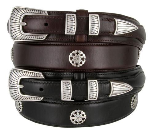 Five Card Stud Poker Conchos Belt Western Oil Tanned Genuine Leather Ranger Belt