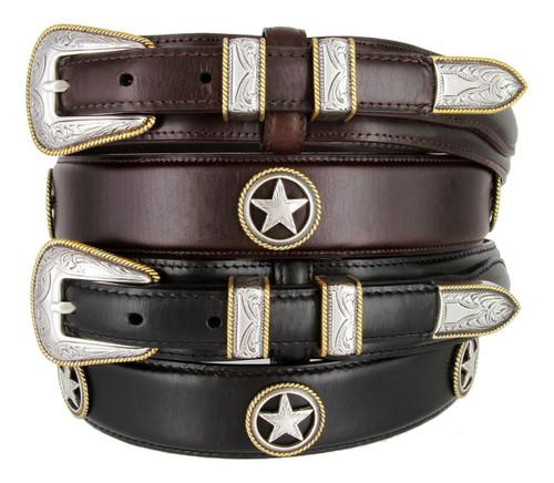 Gold Rope Edge Star Conchos Belt Oil Tanned Genuine Leather Ranger Belt