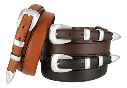 S5354 Antique Smooth Buckle Western Oil Tanned Genuine Leather Ranger Belt