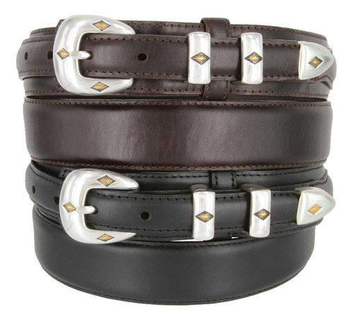 S5513 Antique Gold Engraved Buckle Western Oil Tanned Genuine Leather Ranger Belt