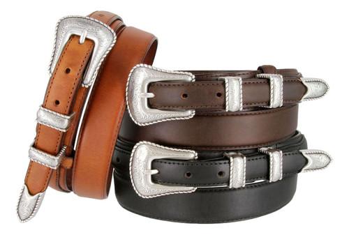 S5539 Antique Floral Engraved Western Buckle Belt Oil Tanned Genuine Leather Ranger Belt