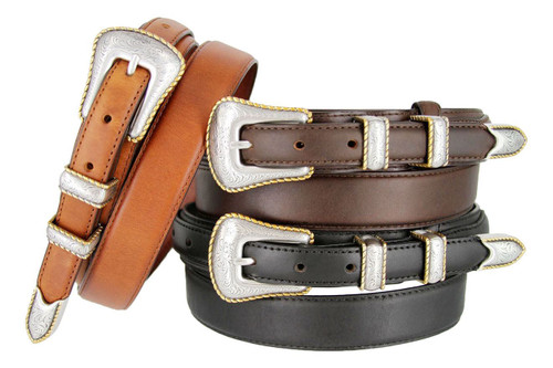 S5539 Gold Rope Edge Engraved Western Buckle Belt Oil Tanned Genuine Leather Ranger Belt