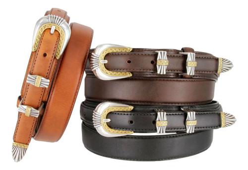 S5544 Antique Gold Engraved Buckle Western Oil Tanned Genuine Leather Ranger Belt