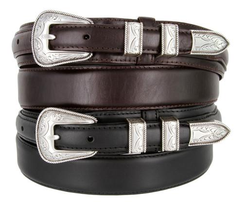 S5664 Silver Engraved Western Buckle Oil Tanned Genuine Leather Ranger Belt