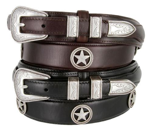 Silver Star Conchos Belt Western Oil Tanned Genuine Leather Ranger Belt