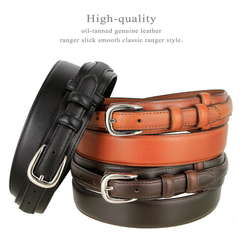 """Western Oil-Tanned Genuine Leather Ranger Belt 1-3/8""""(35mm) Taper to 3/4""""(19mm) Wide"""