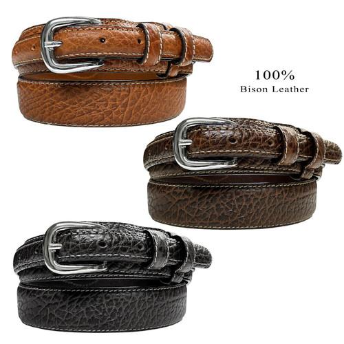 """Western Ranger Belt Genuine Leather Bison Ranger Belt 1-3/8""""(35mm) Taper to 3/4""""(19mm) Wide"""