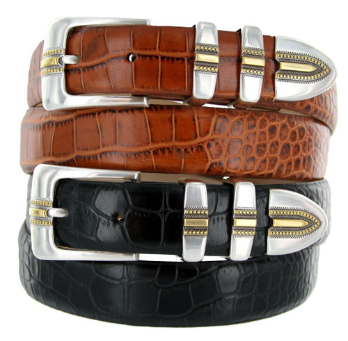 "Carmelo Italian Calfskin Genuine Leather Designer Golf Dress Belt 1-1/8""(30mm) Wide"