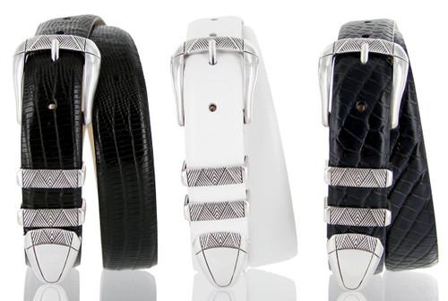"Martin Italian Calfskin Genuine Leather Designer Golf Dress Belt 1-1/8""(30mm) Wide"