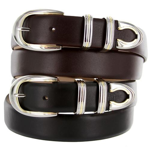 "Conrondo Italian Calfskin Genuine Leather Designer Golf Dress Belt 1-1/8""(30mm) Wide"