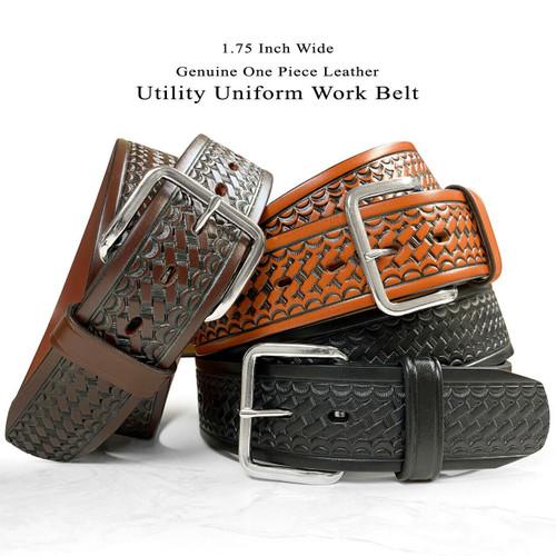 """CL871-B Utility Uniform Work Belt Basketweave One Piece Full Grain Cowhide Leather Belt 1-3/4""""(45mm) Wide"""