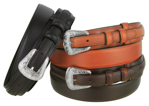 Western Floral Engraved Buckle with Genuine Oil-Tanned Leather Ranger Belt