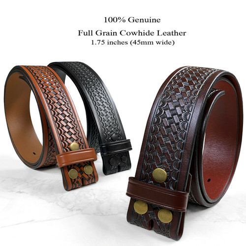"""Utility Uniform Work Belt Basketweave One Piece Full Grain Cowhide Leather Belt Strap 1-3/4""""(45mm) Wide"""