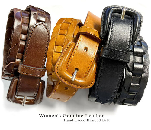 """251813 Genuine Leather One Piece Full Leather Hand Lacing Braided Belt 1"""" Wide"""