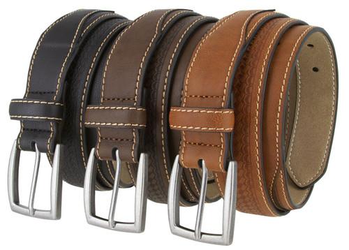 "352079 Basketweave Engraved Vegan Synthetic Leather Belt 1-3/8"" Wide"