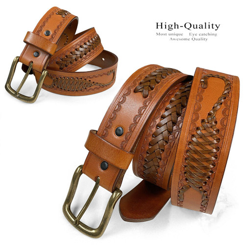 "2285 Western Scorpion Hand-Woven Braided Genuine Full Grain Leather Belt 1-1/2""(38mm) Wide"