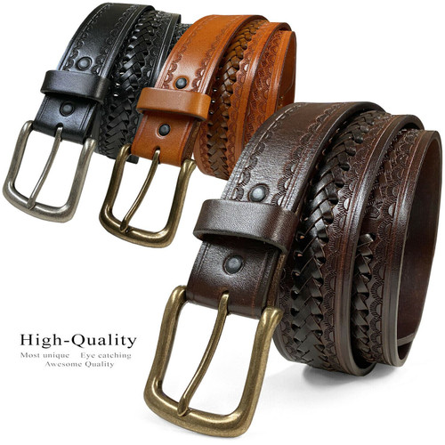 "2283 Western Basketweave Hand-Woven Braided Genuine Full Grain Leather Belt 1-1/2""(38mm) Wide"