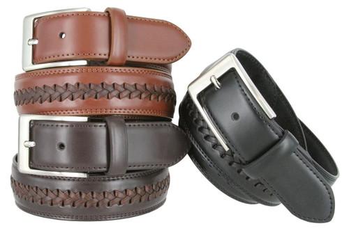 "Center Crossweaved Braided Leather Belt Laced Woven Casual Dress Belt 1-3/8""(35mm) Wide"