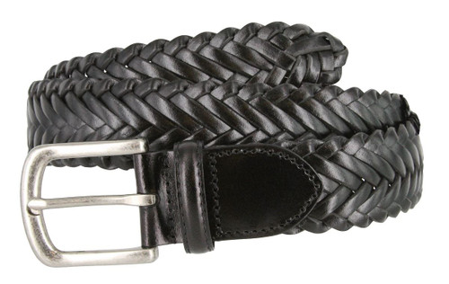 """20151 Men's Genuine Leather Braided Woven Casual Dress Belt 1-3/8""""(35mm) Wide"""