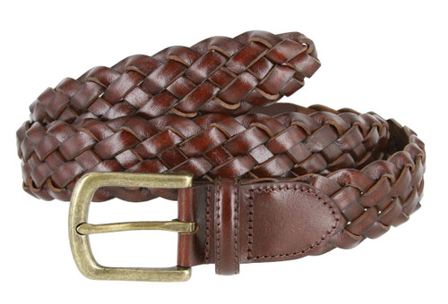 """20152 Men's Genuine Leather Braided Woven Casual Dress Belt 1-3/8""""(35mm) Wide"""