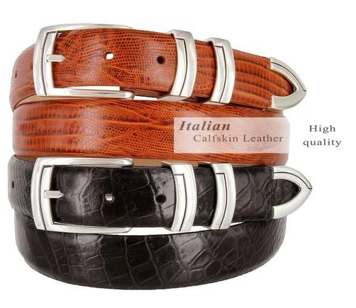 "Harbor Italian Calfskin Genuine Leather Designer Golf Dress Belt 1-1/8""(30mm) Wide"
