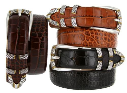 "Menlo Italian Calfskin Genuine Leather Designer Golf Dress Belt 1-1/8""(30mm) Wide"