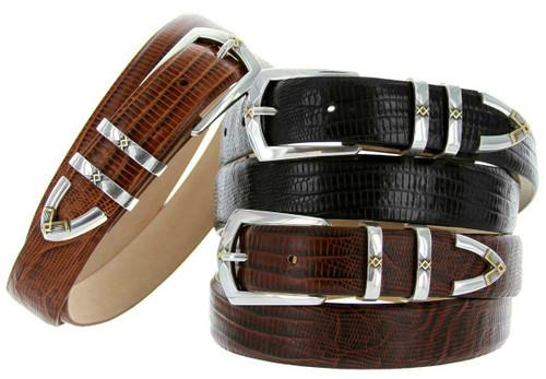 "St. Mark Italian Calfskin Genuine Leather Designer  Dress Belts 1-1/8"" (30mm) Wide"
