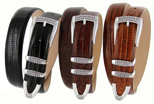 "Jakarta Italian Calfskin Genuine Leather Designer Golf Dress Belt 1-1/8""(30mm) Wide"