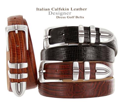 "Kaymen Italian Calfskin Genuine Leather Designer Golf Dress Belt 1-1/8""(30mm) Wide"