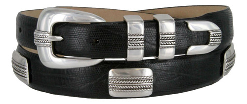 River Lake Italian Calfskin Genuine Leather Designer Dress Conchos Belt