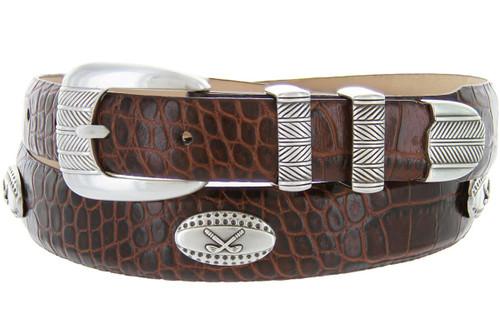 Golf Tour Conchos Italian Calfskin Genuine Leather Designer Dress Golf Belt