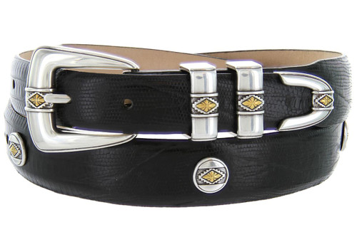Golden Diamond Italian Calfskin Genuine Leather Designer Dress Conchos Belt