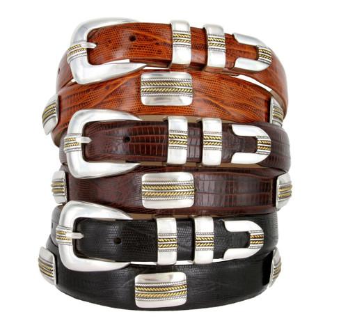 Golden Italian Calfskin Genuine Leather Designer Dress Conchos Belt