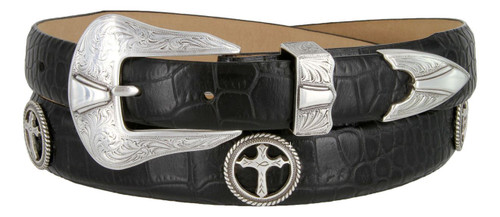 Christian Cross Conchos Italian Calfskin Genuine Leather Designer Dress Belt