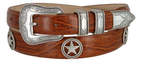 Tombstone Star Conchos Italian Calfskin Genuine Leather Designer Dress Belt