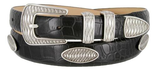 Aztec Golf Leather Belt Italian Calfskin Genuine Leather Designer Dress Conchos Belt