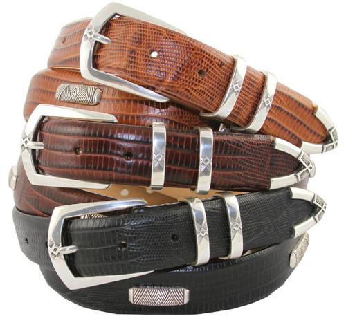 "Coventry Italian Calfskin Genuine Leather Designer Dress Conchos Belt 1-1/8"" (30mm) Wide"