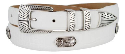 Golf Swinger Italian Calfskin Genuine Leather Designer Dress Conchos Golf Belt