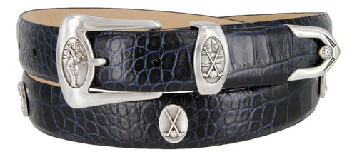 "Birmingham Italian Calfskin Genuine Leather Designer Dress Golf Conchos Belt 1-1/8""(30mm) Wide"