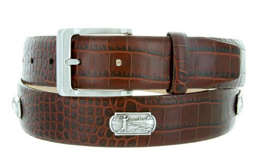 "6357 Men's Golf Belt Italian Calfskin Genuine Leather Casual Concho Belt 1-3/8""(35mm) Wide"