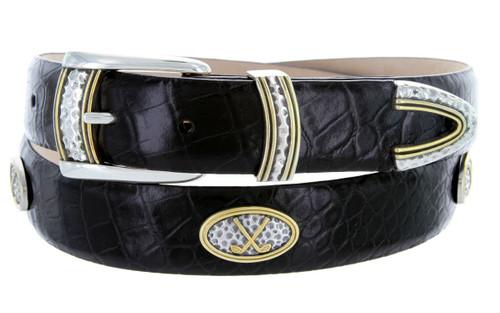 "Golf Classic Italian Calfskin Genuine Leather Designer Dress Golf Conchos Belt 1-1/8""(30mm) Wide"